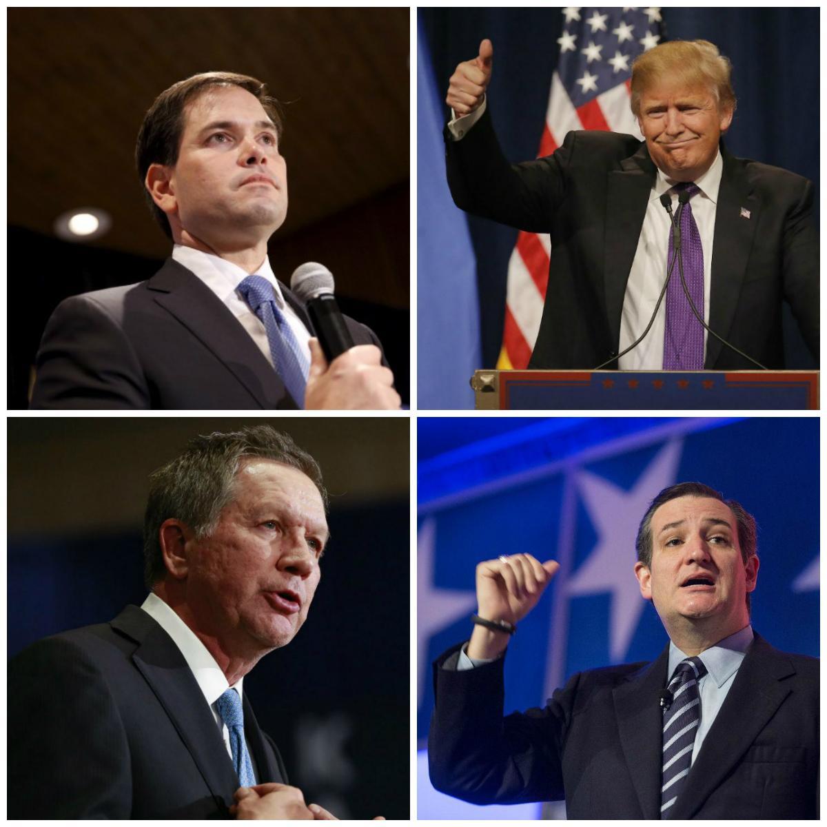 Marco Rubio (C-E), Donald Trump (C-D), John Kasich (B-E) e Ted Cruz (B-D)