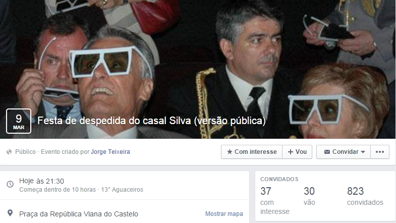 Evento no Facebook para a despedida de Cavaco Silva