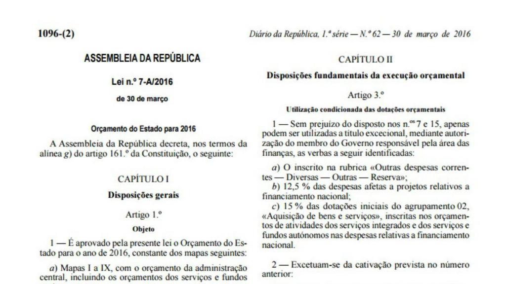 Orçamento do Estado publicado em Diário da República