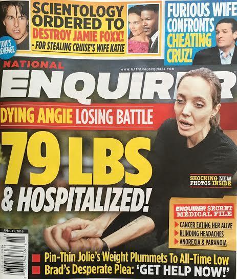 Tabloide americano diz que Angelina Jolie está internada e lutando pela vida