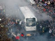 Chegado do autocarro do Real Madrid ao Santiago Bernabéu