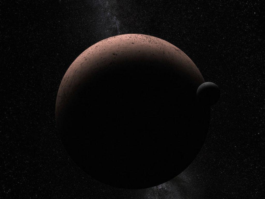 Conceção artística que mostra planeta anão Makemake e sua lua recém-descoberta, MK 2