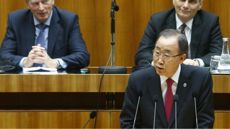 Ban ki-moon no parlamento austríaco