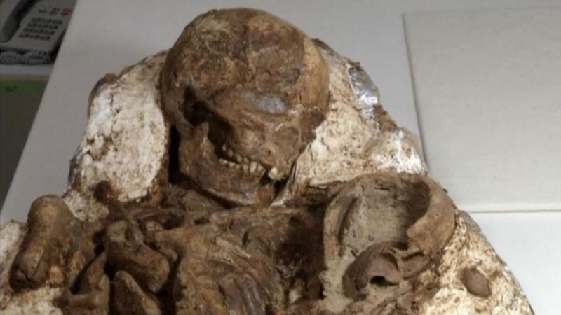 Fóssil com 4.800 anos, a mãe a olhar para o filho