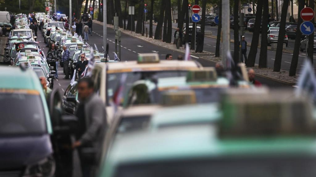 Taxistas em protesto