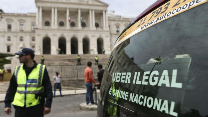 Protesto de taxistas contra a Uber em Lisboa