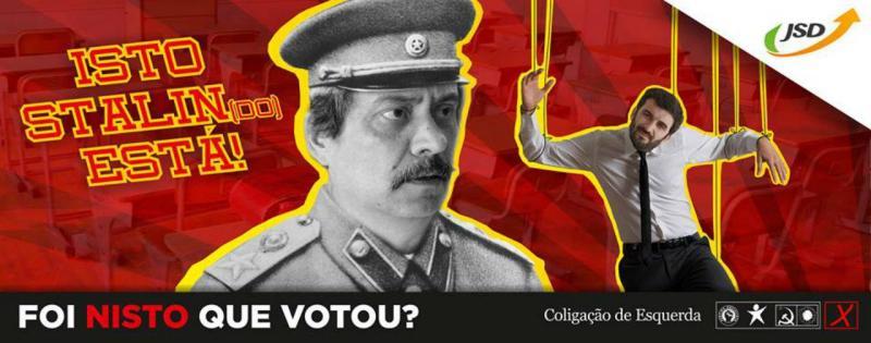 Cartaz da JSD compara Mário Nogueira a Estaline e Tiago Brandão Rodrigues a uma marioneta [Reprodução: Facebook]