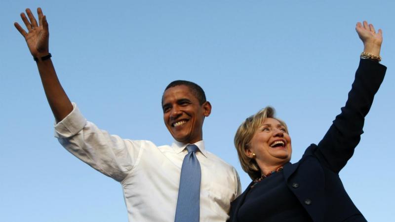 Barack Obama e Hillary Clinton numa ação de campanha na Flórida (2008)