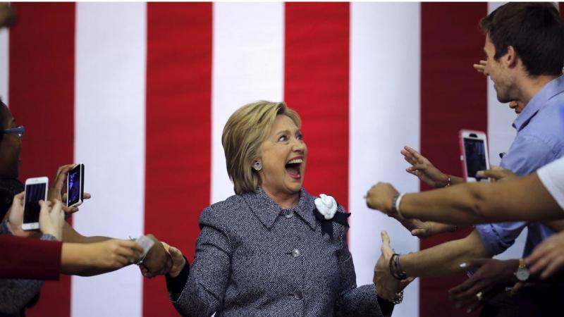 Hillary Clinton numa ação de campanha em Charlotte, Carolina do Norte (2016)