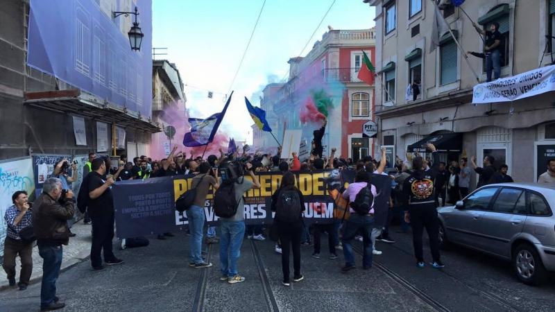 Estivadores em protesto em Lisboa