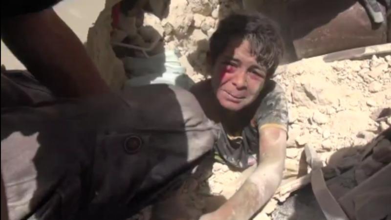 Menino resgatado em Aleppo