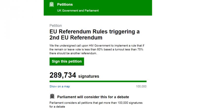 Petição online para novo referendo no Reino Unido