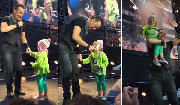 Momento ternurento de Bruce Springsteen e uma menina de 4 anos ao palco, em Oslo