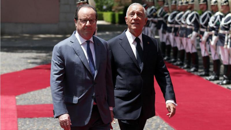 Marcelo e Hollande no palácio de Belém
