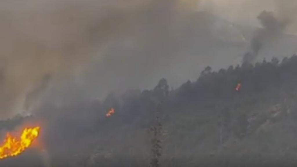 Início de incêndio em Arbo, na Galiza.