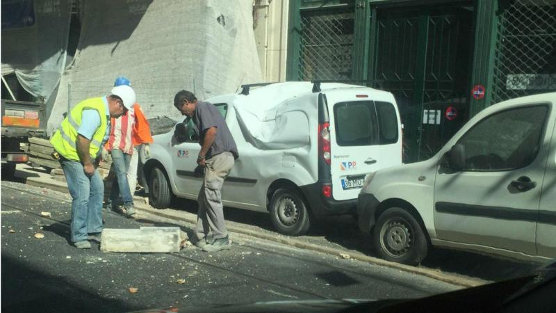 Derrocada na rua de São Paulo, em Lisboa