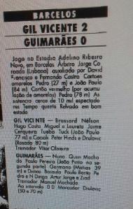 Ficha de jogo do Gil Vicente-V. Guimarães de 1993 (Foto: Diário de Notícias)