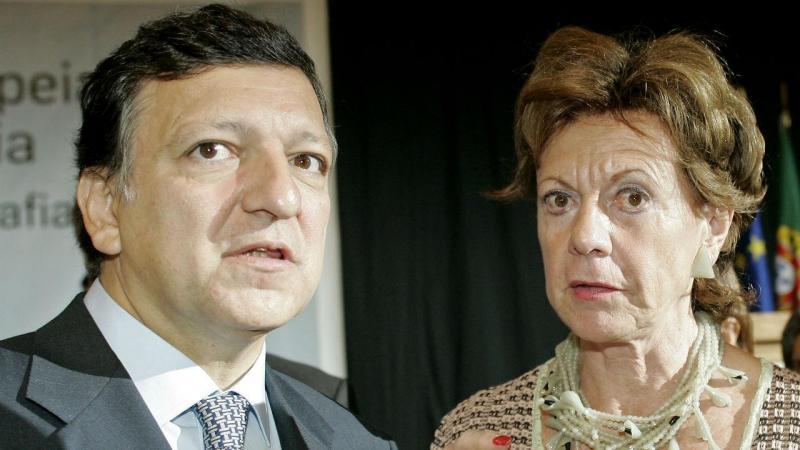 Durão Barroso e Neelie Kroes