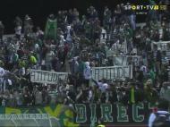 Protestos dos adeptos leoninos (fonte: emissão da Sport TV)