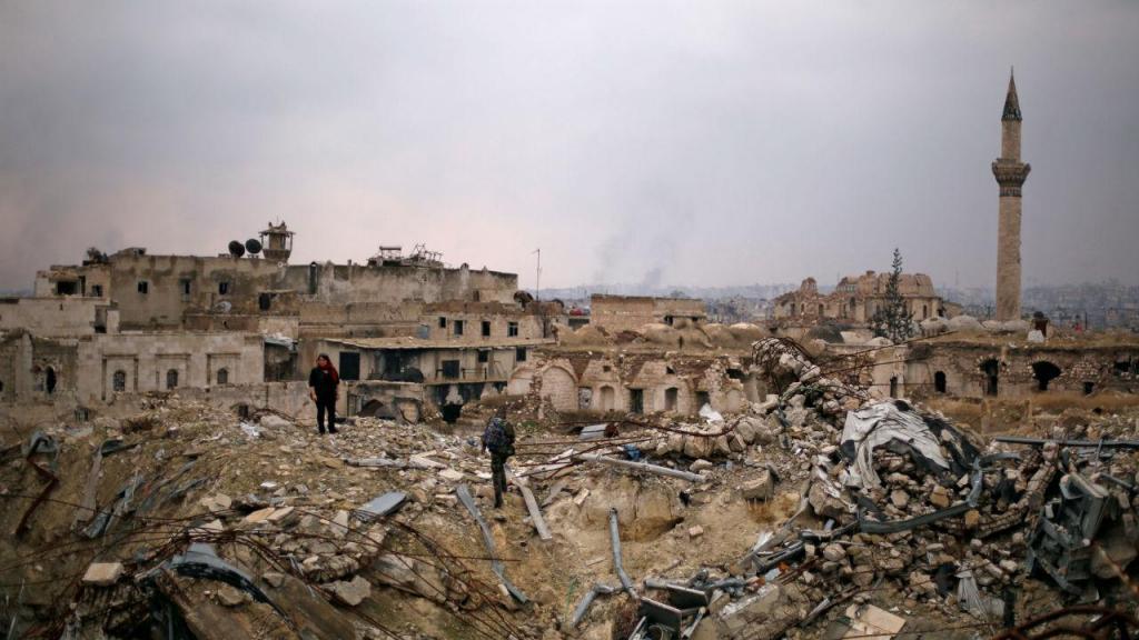 Hotel de luxo destruido pela guerra na Síria