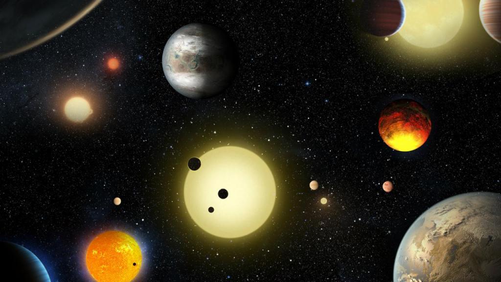 Representação dos planetas descobertos pelo telescópio Kepler, da NASA