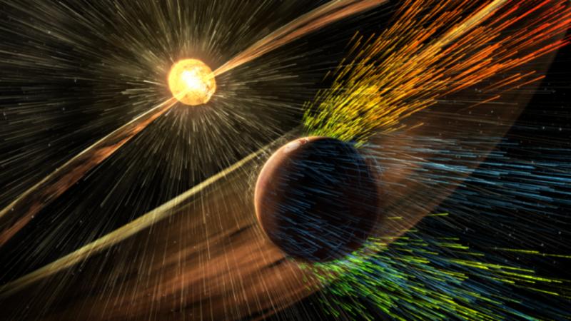 Sem atmosfera, Marte está sujeito ao impacto das radiações e dos ventos solares