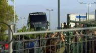 Euforia na chegada do autocarro do Sporting