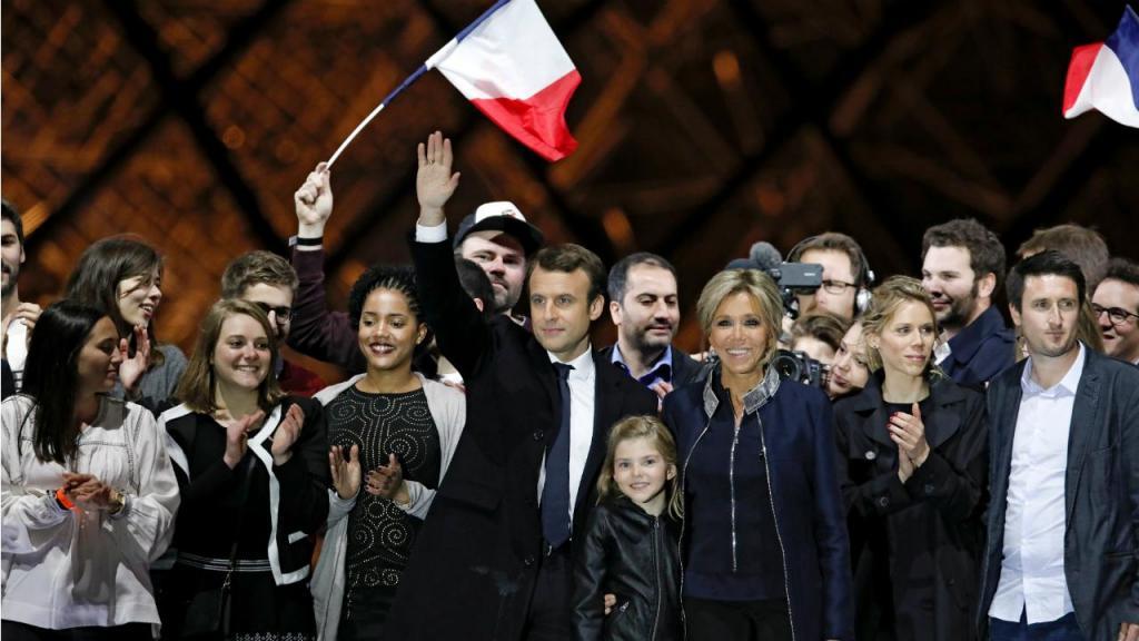 Emmanuel Macron - festejo da eleição