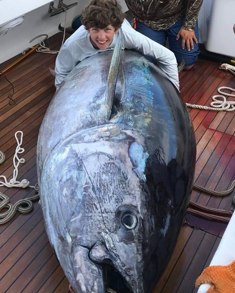 Jovem de 14 anos pescou atum gigante