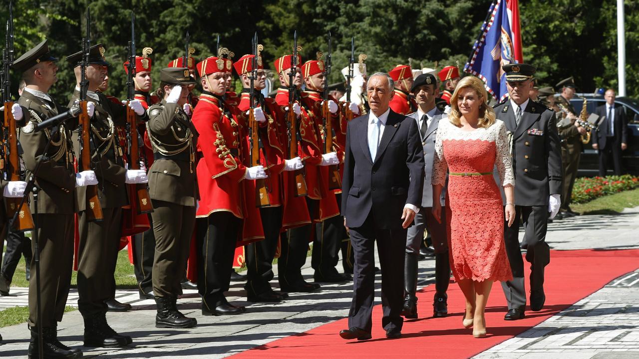 Marcelo Rebelo de Sousa com a presidente da Croácia, Kolinda Grabar-Kitarovic