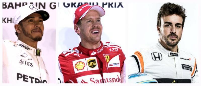 Hamilton, Vettel e Alonso