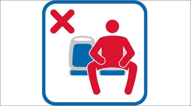 Campanha contra homens com as pernas abertas nos transportes públicos