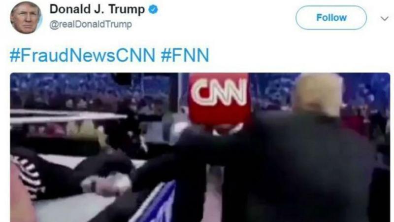 Trump publica vídeo em que 'bate' na CNN