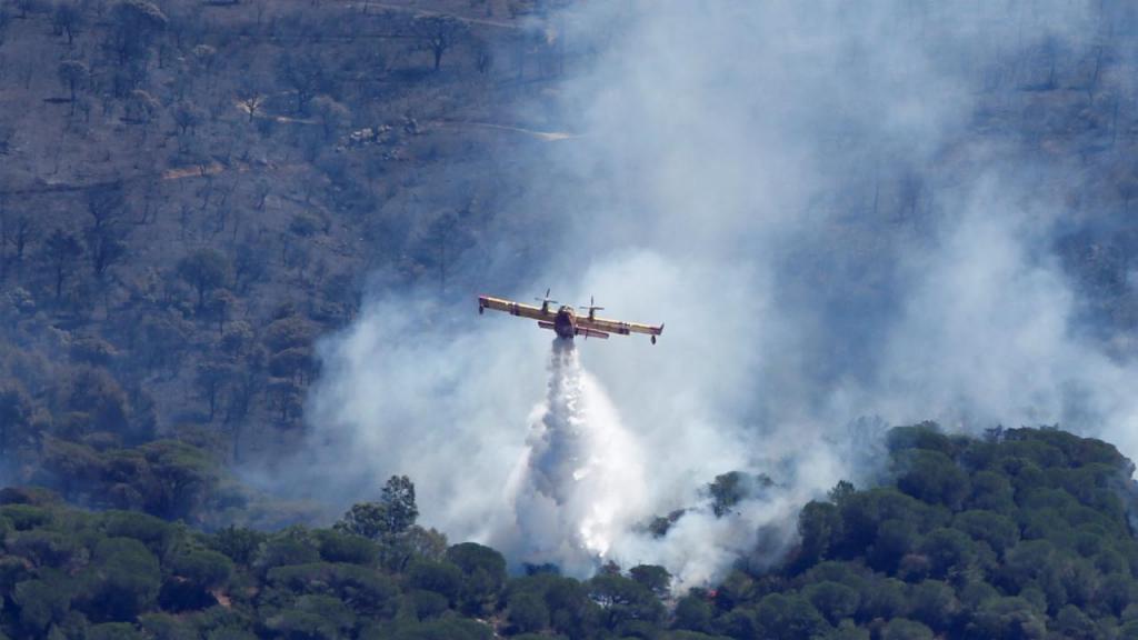 Avião canadair apaga incêndio no sul de França