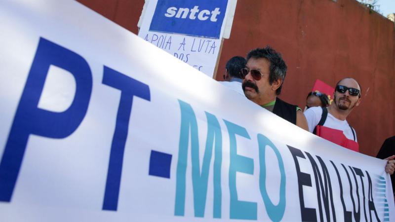 Protesto dos trabalhadores da PT/Meo junto ao Conselho de Ministros