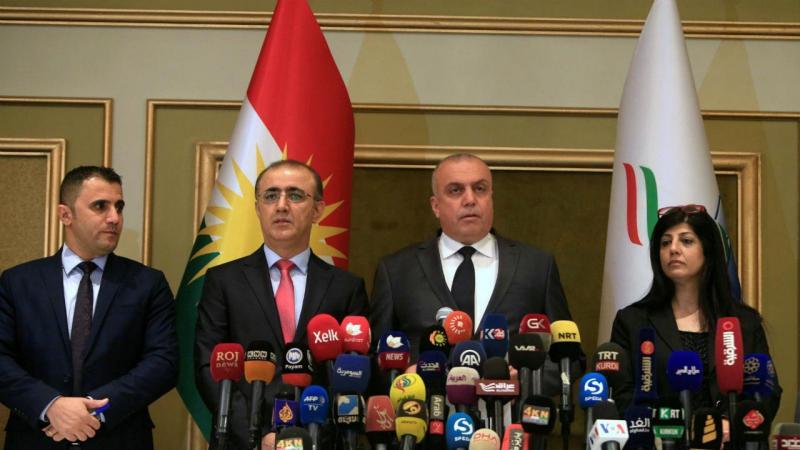 Comissão eleitoral anuncia resultado do referendo no Curdistão, Erbil, Iraque, 27 de setembro