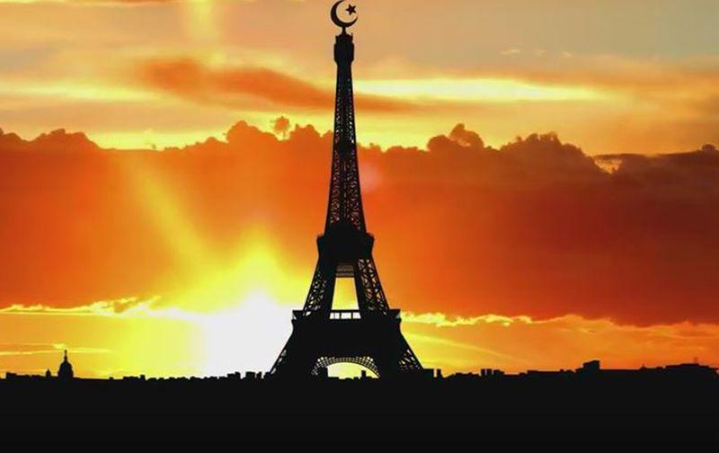 Imagem Torre Eiffel com crescente islâmico