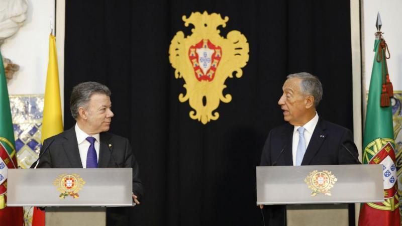 Juan Manuel Santos e Marcelo Rebelo de Sousa