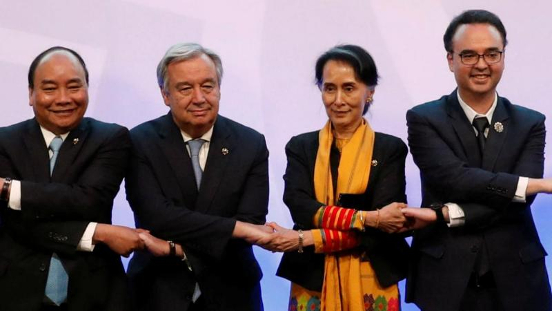 António Guterres e Aung San Suu Kyi