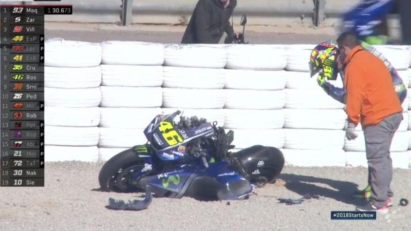Moto de Rossi ficou neste estado durante testes em Valência