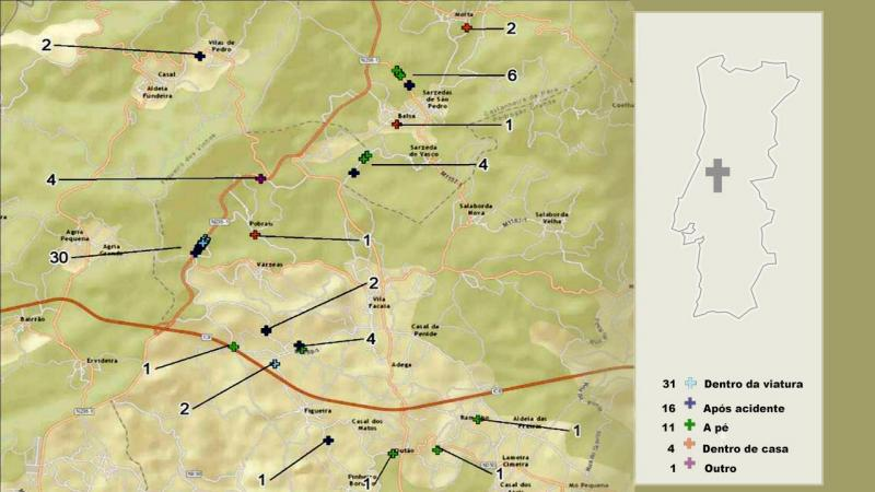 Mapa de Pedrogrão Grande e concelhos mimítrofes