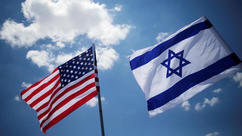Bandeiras dos EUA e de Israel