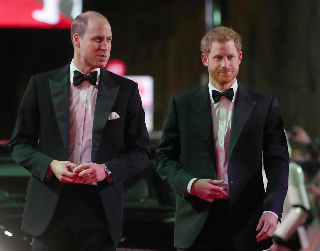 Príncipe Carlos, William e Harry na estreia de