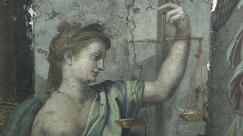 Detalhe das pinturas descobertas de Rafael