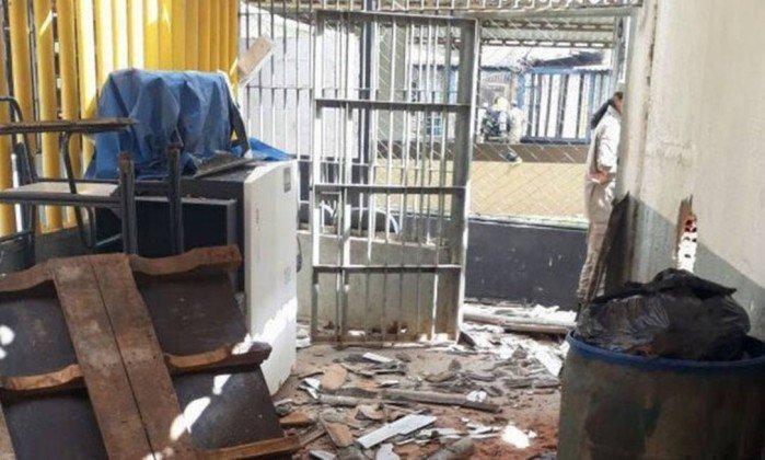 Cela destruída depois após confrontos no Complexo Prisional de Aparecida