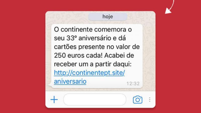 Mensagem fraudulenta envolve Continente