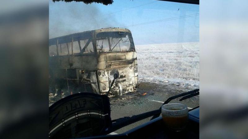 Incêndio em autocarro no Cazaquistão