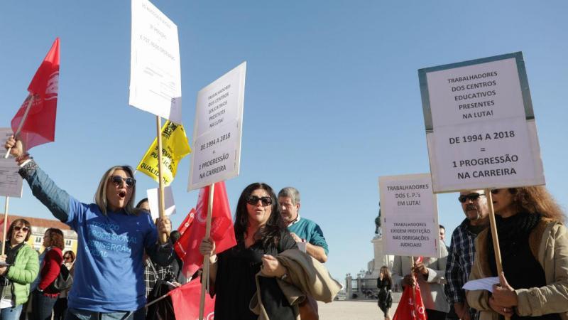 Trabalhadores dos serviços do Ministério da Justiça em protesto