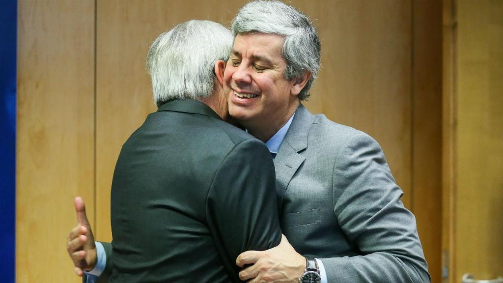 Mário Centeno e Jean-Claude Juncker