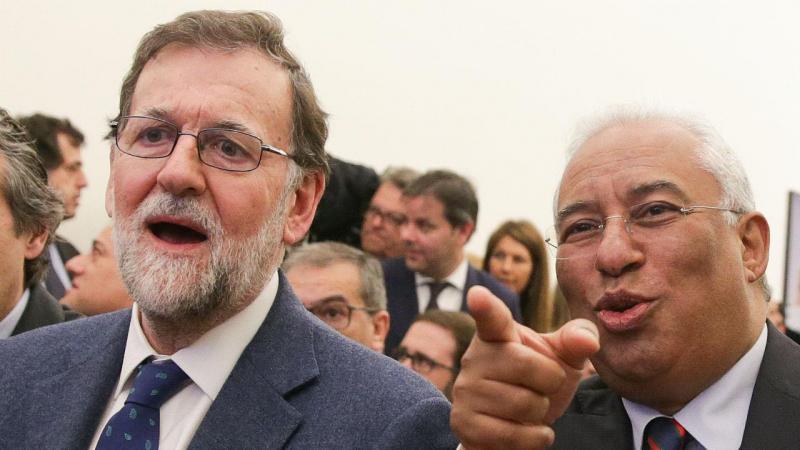António Costa com Mariano Rajoy na cerimónia de arranque da obra ferroviária Évora-Elvas, em Elvas